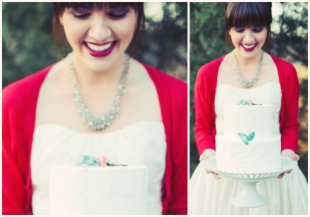red bridal cardigan
