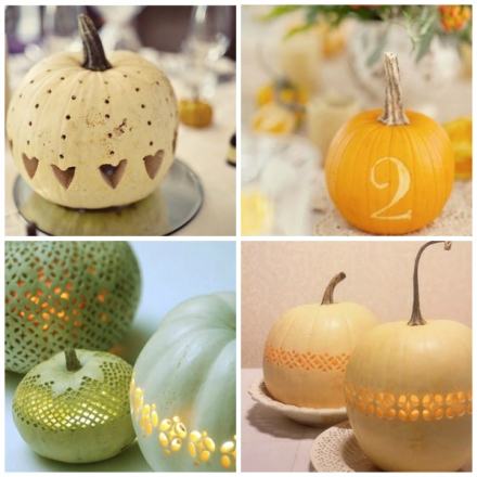 carved wedding pumpkin