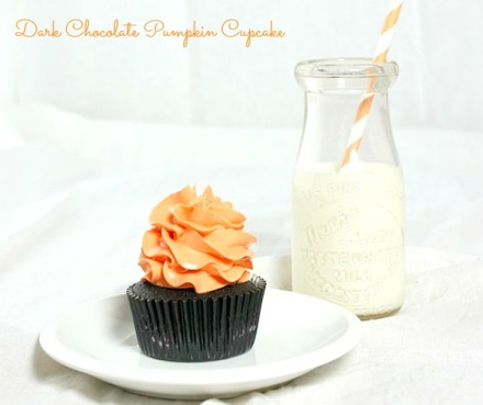 Dark Chocolate Pumpkin Cupcakes