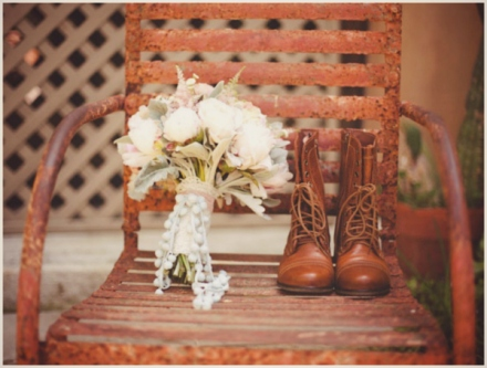 bridal bouquet and lace boots