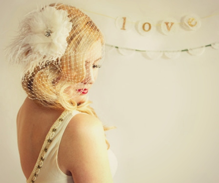birdcage veil with feather and flower