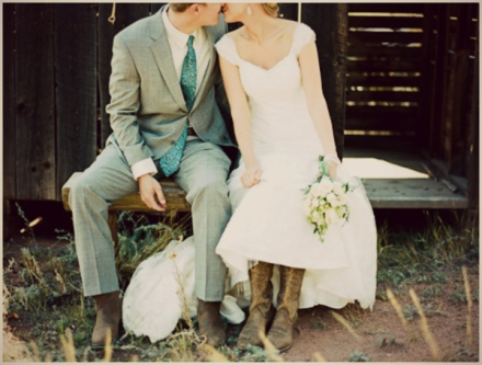groom and his bride in boots