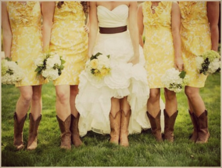 bride and bridesmaids in boots