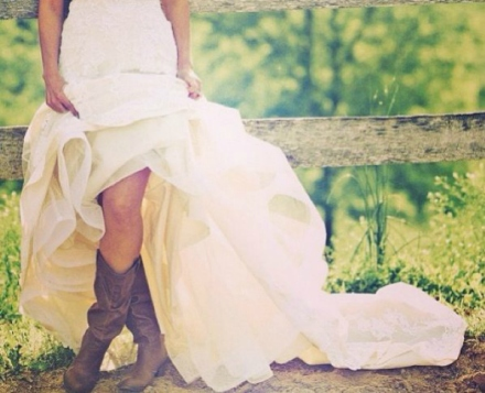 country bride in cowboy boots