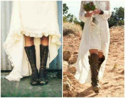 bohemian bride in lace combat boots