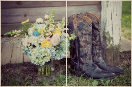 bridal bouquet and black cowboy boots