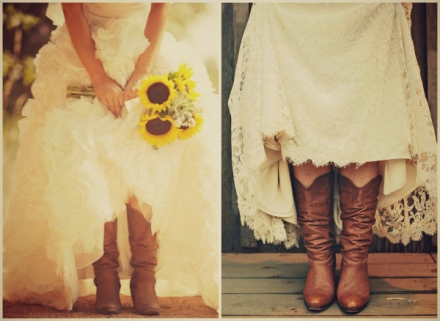 brides wearing cowboy boots