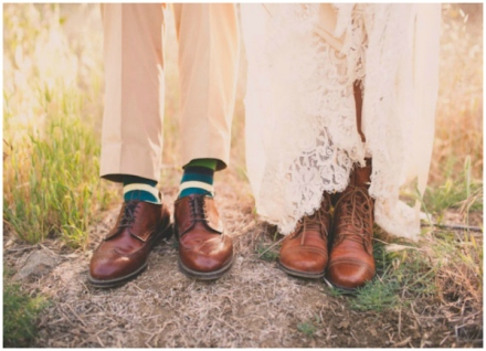 bride in lacey boots