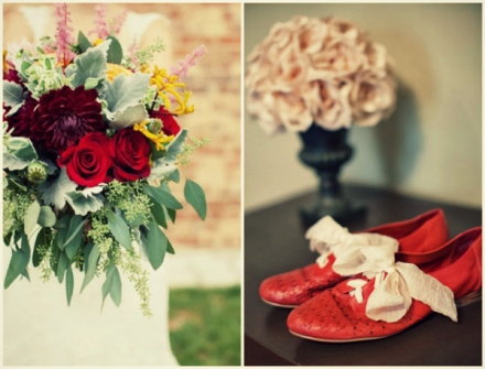 bride's bouquet and red shoes
