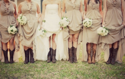 bride and her bridesmaids in boots