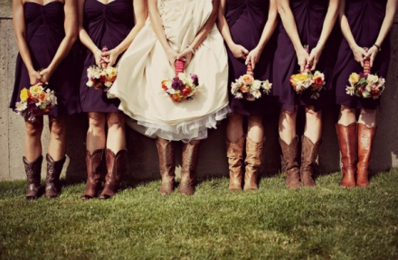 bride and bridesmaids in boots 3